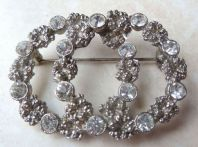 Vintage Double Layered Circle Rhinestone Studded Brooch.